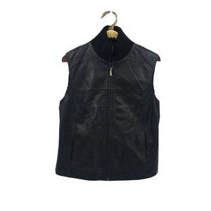 Casual Corner Annex Womens Black Leather Lined Zip